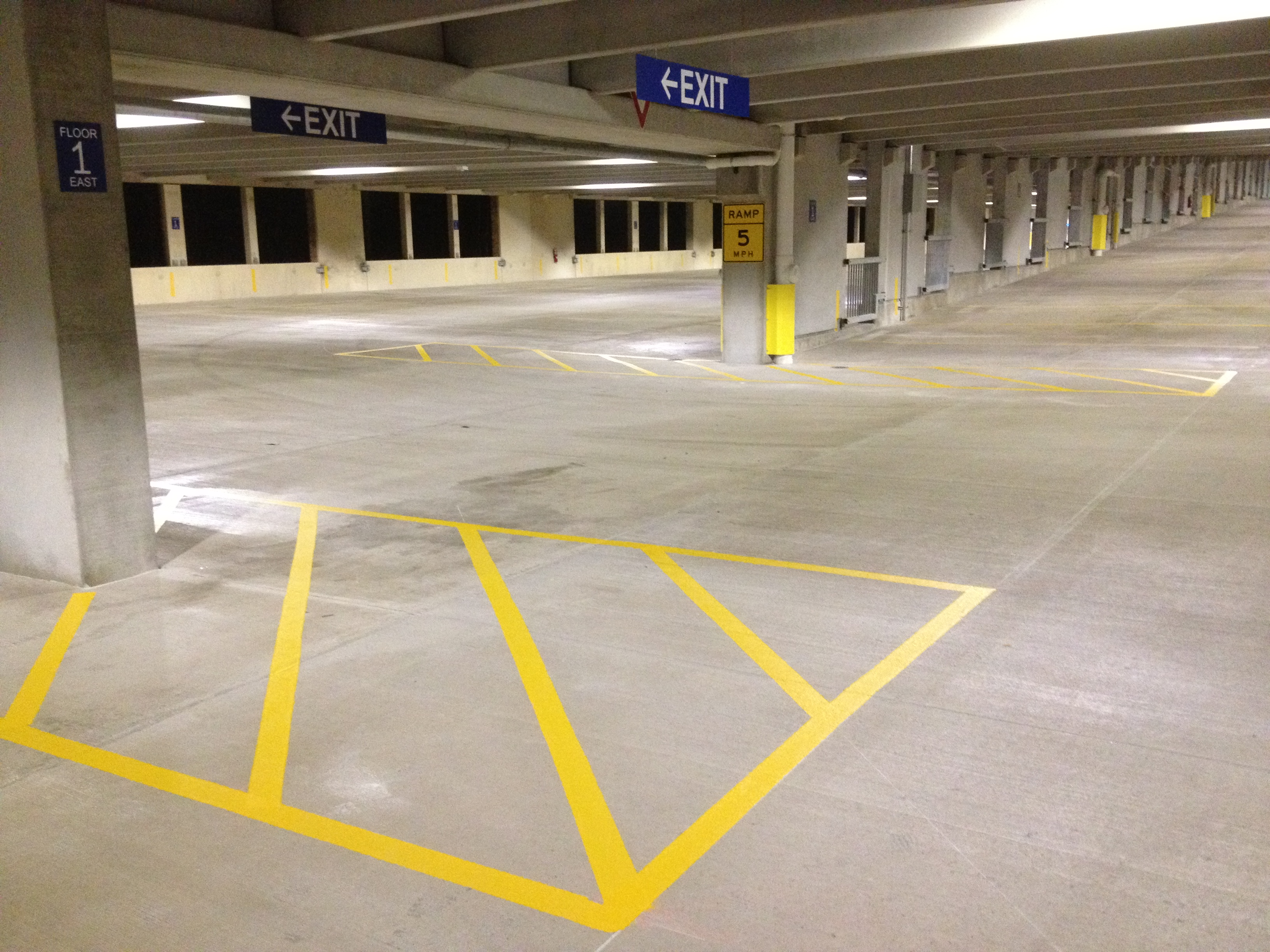 fresh painted parking structure